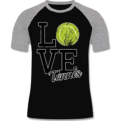 Tennis - Love Tennis - zweifarbiges Baseballshirt für Männer Schwarz/Grau Meliert