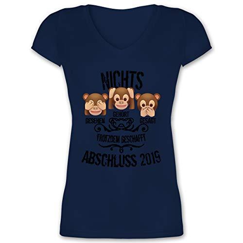 Abi & Abschluss - 3 Affen Emojis ABSCHLUSS 2019 - M - Dunkelblau - XO1525 - Damen T-Shirt mit V-Ausschnitt