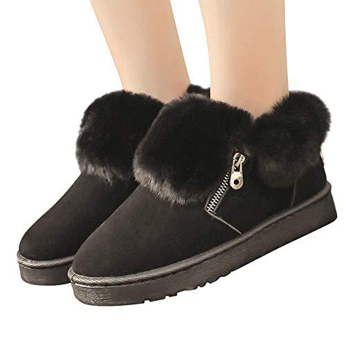 MYMYG Winter Schneeschuhe Damen Frauen Plüsch Winter Knöchel Schnee Stiefel Winter Schuhe Warm Metall Zipper Boots Walkingschuhe Freizeitschuhe Baumwolle Winterschuhe Pelz Stiefel