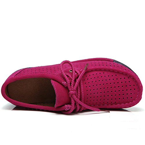 Z.SUO Mocassins Femmes Suède Casuel Confort Chaussures Loafers Rose.1