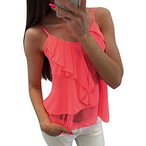Jaminy Damen Tank Tops Casual Kurzarm Rückenfrei Shirts T-Shirt Weste Bluse Ärmellos Stretch Tunika Top S-XL (Rosa, L)