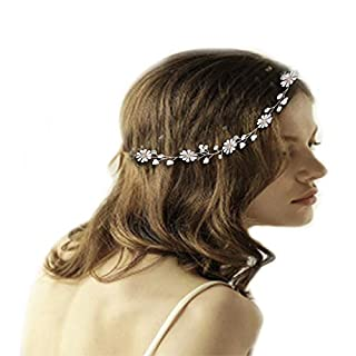 ETSAMOR Rhinestone Headband with Small Daisies Ribbon Crystal Hair Vine Women Party Wedding Hair Accessories with Packaging Gift Box