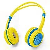 Votones Wired Kopfhörer für Kinder Lautsprecherschutz Kopfhörer für Kinder Einstellbares On-Ear Headset für PC Tablette iPad iPhone Smartphones Calling Music Gaming - Gelb und Blau