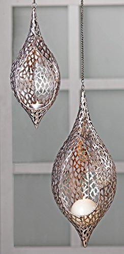 Casablanca Grande Lampada a Sospensione Purley portalumini, in Metallo, Lunghezza Totale: 99 cm (43 cm Lampada e 56 cm Catena), Colore. Argento Anticato