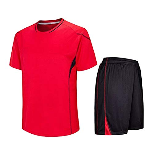Gutes Kostüm Team - Meijunter Kind Erwachsene Fußball T-Shirt & Shorts Set - Team Training Wettbewerb Sportbekleidung Im Freien Kostüm Soccer Jerseys Uniforms, Rot, Tag 155-160CM = UK/EU/US/AUS 135-140CM
