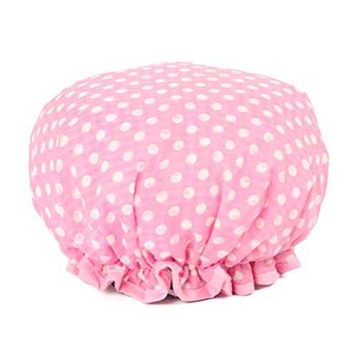 Design élégant de douche imperméable Double Layer Cap Spa bain Caps, Pink Dot