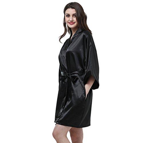 Damen Morgenmantel Bademantel Nachtwäsche 22 Version Schwarz