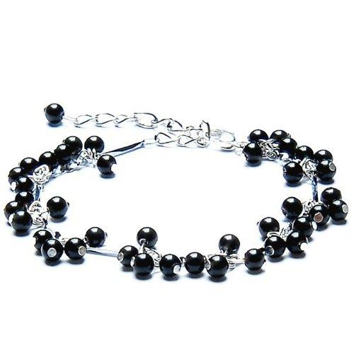 Ufingo Jewelry - Agata nera Bracciali Cavigliere, Perlina diametro 4 millimetri, Lunghezza Chain 28 centimetri, può essere regolato, Silver Plated