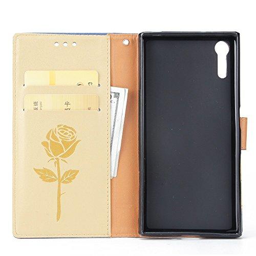 EKINHUI Case Cover Dual Color Matching Premium PU Leder Flip Stand Case Cover mit Card Cash Slots und Lanyard für Sony Xperia XZ ( Color : Brown ) Gold