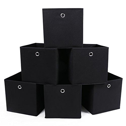 faltboxen stoff SONGMICS 6 Stück Faltbare aufbewahrungsbox faltbox mit Fingerloch 30 x 30 x 30 cm Schwarz RFB02H-3, Stoff