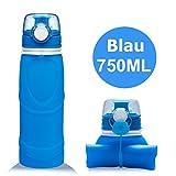Lepfun S5 Pro Faltbare Trinkflasche Medizinisches Silikon Wasserflasche - BPA Frei, 750ML/26OZ,FDA Geprüft, Tragbare und Auslaufsichere Sportflasche für Outdoor, Reisen, Radfahren, Wandern, Camping und Picknick