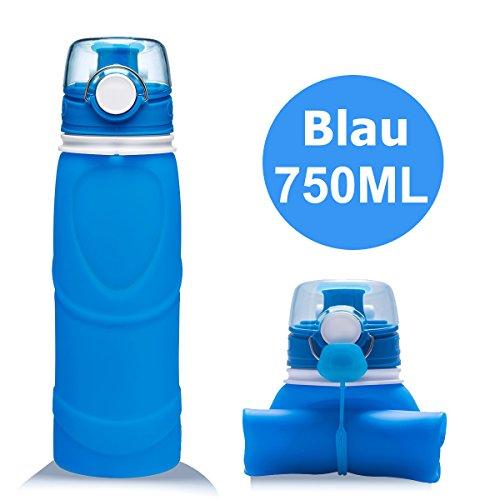 Lepfun S5 Pro Faltbare Trinkflasche Medizinisches Silikon Wasserflasche - BPA Frei, 750ML/26OZ,FDA Geprüft, Tragbare und Auslaufsichere Sportflasche für Outdoor, Reisen, Radfahren, Wandern, Camping und Picknick (S5 Blue, 750ML/26OZ)