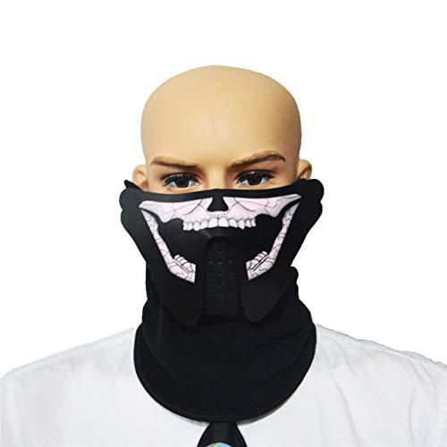 TIREOW_Halloween Masken, Einstellbare Sprachaktivierte Musik Maske Kleidung Big Terror Kaltes LED Licht Leuchtmasken für Jungen Männer Frauen Festival Cosplay Halloween Party