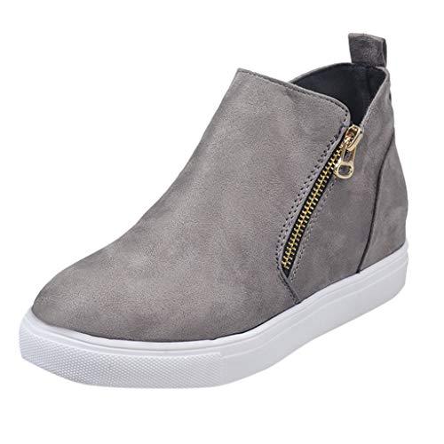 ➤Refill➤Winterschuhe Damen Platform Sneakers Ankle Stiefeletten Reißverschluss Wedge Kurzschaft Stiefel Chelsea Boots Damen Walkingschuhe Segelschuhe Espadrilles -
