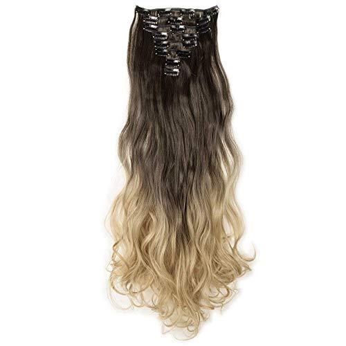 Extension capelli clip ricci shatush lunghi 60cm marrone a biondo scuro ombre 8 fasce hair extensions mossi deep dye