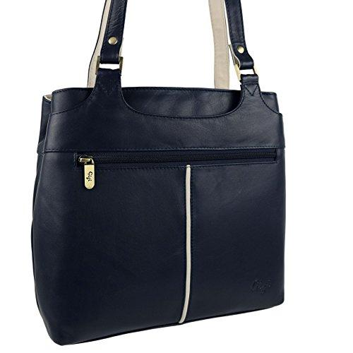 32de97f86334f Damen Bicolor Schulter Handtasche aus weichem Leder von Gigi Othello  Collection Bag Navy Ivory ...