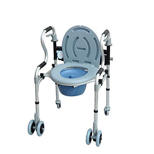 Demarple Aluminiumstuhl mit Rollen, vierrädriger Wagen, ältere Mobile Toilette