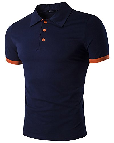 Homme Casual Classique Polo Shirt Chemise Tee Tops Blouse Manches Courtes pour Courir Golf Tennis Large Marine