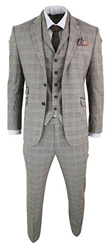Costume Homme Chevrons Tweed Marron Clair 3 pièces Carreaux Vintage Coupe  cintrée Slim edc18d02511