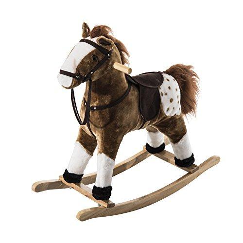 Homcom - Cavallo a Dondolo in Legno con Suono Animale Regalo Giocattolo per i Bambini 74 x 28 x 65cm Marrone
