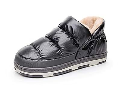 Polliwoo Pantofole da Uomo Invernali caldo scarpe (40/41 EU 6.5-7 UK, black)