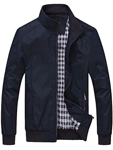 MatchLife Herren Bomberjacke Übergangsjacke Leichte Jacke Casual Mäntel mit Stehkragen Dunkelblau XL
