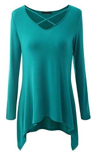 BESTHOO Donna Camicetta Maglietta T-Shirt Maglia Blusa Manica Lunga Sexy Ufficio Collo V Camicia Puro Colore Maglietta Lunga Orlo Irregolare Lake green