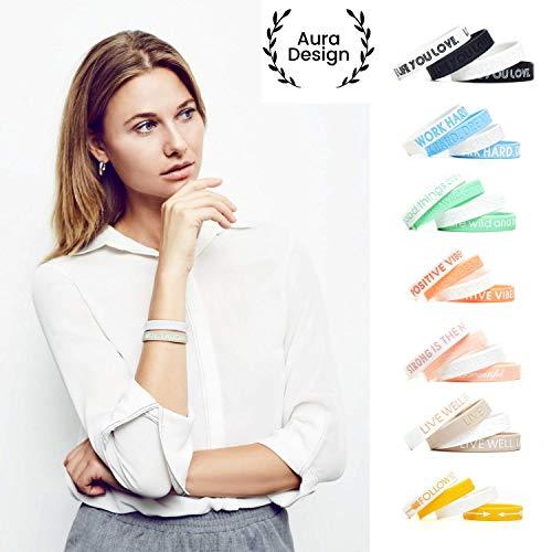 Aura Design Damen-Armband | Sand-Beige | LIVE Well. Laugh Often. Love Life. | Silikonarmband | Sportarmband | Fitness-Armband | Armband für Damen | 4 Armbänder