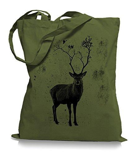 Olive Vögel (Ma2ca Deer Birds Tree Stoffbeutel | Hirsch Tragetasche Elch Vögel-olive_green)