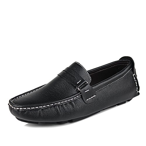 Kingdom Mall Slip Mens Cuir Mocassins Chaussures De Voiture Au Volant Nior