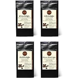 4 x Kaffee mit Geschmack zu Weihnachten als Geschenkset - Weihnachtskaffee, Spekulatius Kaffee, Lebkuchen Kaffee, Gebrannte Mandeln Kaffee - 100% Arabica Röstkaffee mit Aroma - 4x75 g (300 g)