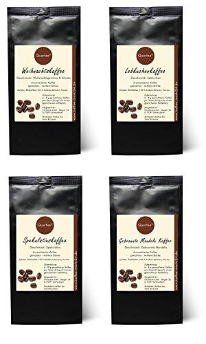 4 x Kaffee mit Geschmack zu Weihnachen als Geschenkset - Weihnachtskaffee, Spekulatius Kaffee, Lebkuchen Kaffee, Gebrannte Mandeln Kaffee - 100% Arabica Röstkaffee mit Aroma - gemahlen - 4 x 75 g (300 g insgesamt)