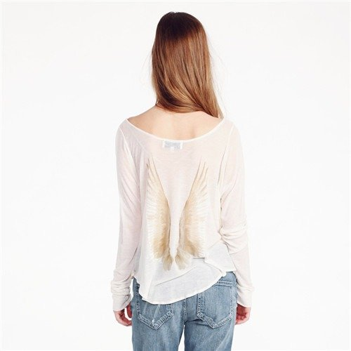 QIYUN.Z Rundhalsausschnitt Langarm Winkelflügelmuster Damenmode T-Shirt Tops Blusen Weiße