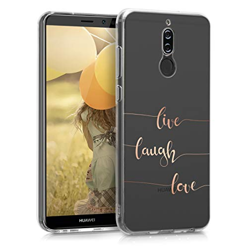 kwmobile Huawei Mate 10 Lite Hülle - Handyhülle für Huawei Mate 10 Lite - Handy Case in Live Laugh Love Design Rosegold Transparent