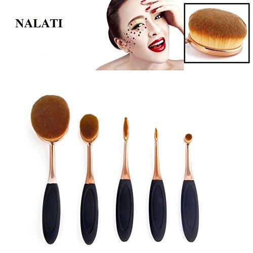 NALATI 5 Stücke Profi Pinselset Kosmetische BB Creme Foundation Puder Make-up Pinsel Sets für Eyeliner Gesicht Weiche Multifunktionelle Zahnbürsten Oval Pinsel