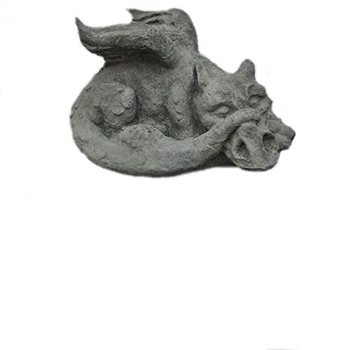 Steinfigur Kleiner Drache Drachen Koi Frostfrei Steinguss Gartenfigur Tierfigur