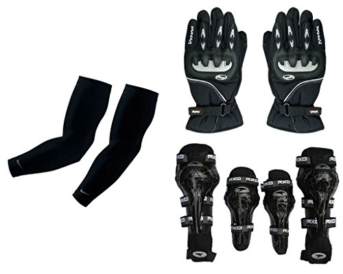 Auto Pearl Premium Quality Bike Accessories Combo Of Arm Sleeve for Protection against Sun, Dust and Pollution Black 2 Pcs. & Vemar 1 Pair of Full Hand Grip Gloves for Bike Motorcycle Scooter Riding - (Black) & AXO Motorcycle Racing Rider Elbow And Knee Guard Pads Protector Gear Black.  available at amazon for Rs.3406