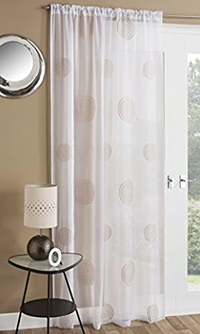 Orient Linen Readymade Voile Curtain Panel - Slot Top / Rod Pocket - 55 x (Wire Tulle)
