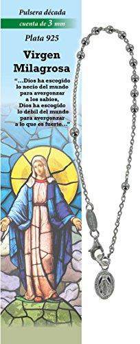 Pulsera Rosario de plata 925 con 11 cuentas de 3 mm - Virgen Milagrosa - en español