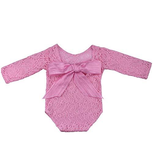 Big Kostüm Baby Mädchen - NROCF Neugeborenes Baby Baby 100 Tage Fotografie Requisiten, Big Bow Süße Mädchen Rückenfreie Spitze Siamesische Kleidung, Foto Prinzessin Kostüm Kleidung,Rosa