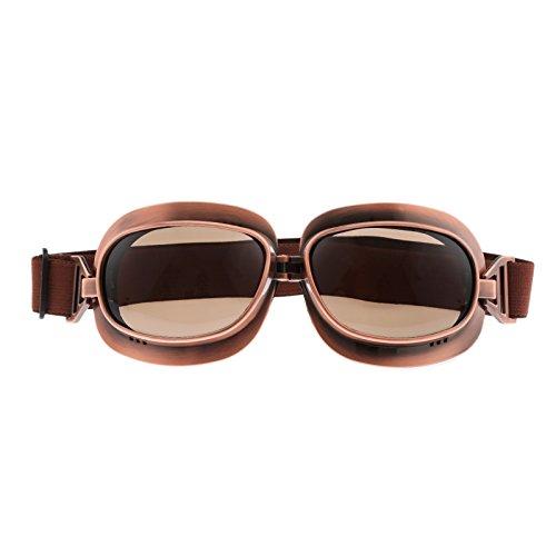 Vintage Flieger Stil Motorradbrille Scooter Schutzbrillen - Bronze Rahmen Braun Gläser -