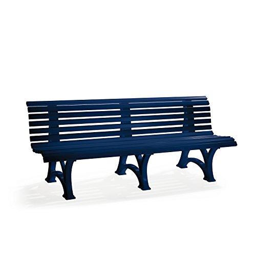 BLOME Parkbank aus Kunststoff – mit 13 Leisten – Breite 2000 mm, stahlblau – Bank Gartenbank Kunststoff-Bank Kunststoff-Bänke Ruhebank