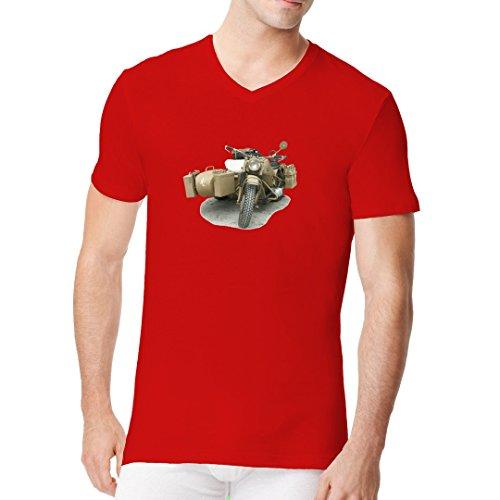 Fun Männer V-Neck Shirt - Wehrmacht Motorrad Oldtimer by Im-Shirt Rot