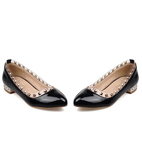 balamasa Mesdames low-heels à enfiler en cuir clouté brevet pumps-shoes Noir