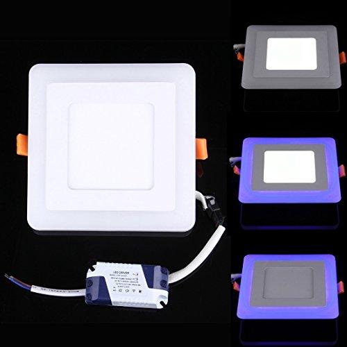 LED-Lampen für Zuhause 6W + 3W Wide Voltage Isolation Zwei Farben (Weiß + Blau) Runde LED Doppel Panel Licht Wand Deckenleuchte mit 3 Lumineszenz-Modus, AC 100-265V, Größe: 145 x 145 x 8 mm Glühbirnen - Drei Licht-wand