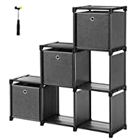 SONGMICS Ladder Storage Unit 6 Cubes with 3 Storage Boxes DIY Closet Organiser Multifunctional with Modular Sturdy Metal Frame Includes Rubber Mallet 105 x 30 x 105 cm (W x D x H) Black LSN23BK