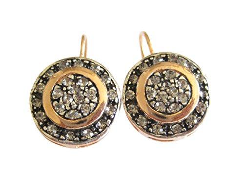 Incantevoli orecchini con strass in argento sterling placcati in oro rosa, stile antico, chiusura a monachella, prodotti in Italia