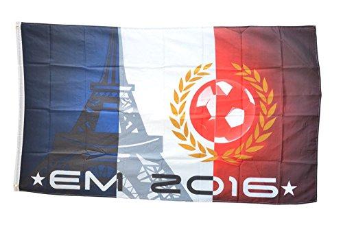Flaggenfritze® Flagge Fahne EM 2016 Eiffelturm - 90 x 150 cm