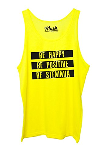 Canotta BE HAPPY BE STEMMIA - DIVERTENTE by Mush Dress Your Style - Uomo-S-Giallo Fluo