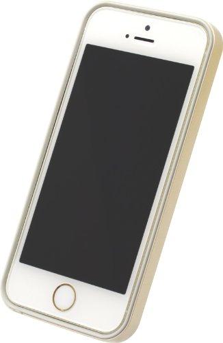Power Support Gold Flacher Bumper Set für iPhone 5& 5S (mit 1AFP & 1HD blendfrei & 1Stoßdämpfende Folie für Rückseite) (Power Support Iphone 5 Bumper)
